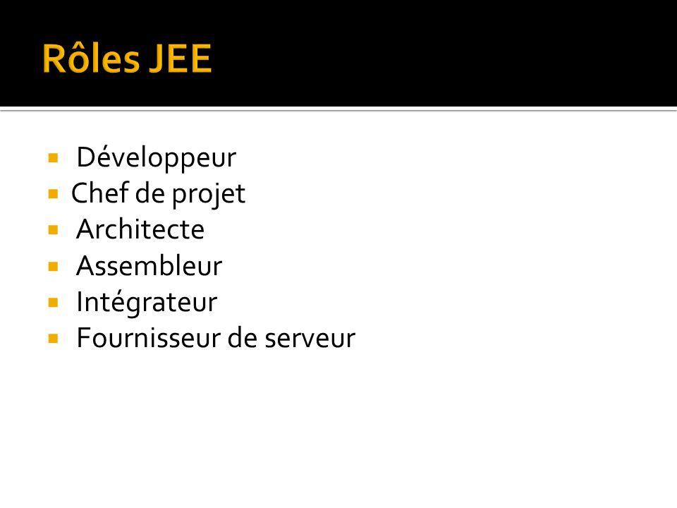  Développeur  Chef de projet  Architecte  Assembleur  Intégrateur  Fournisseur de serveur