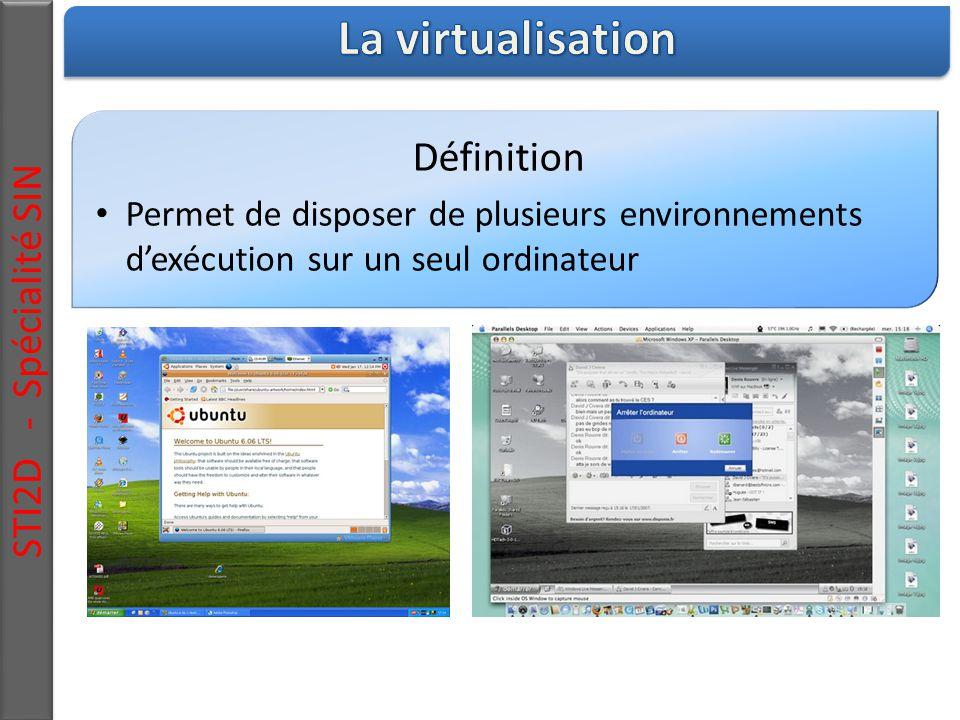 Définition Permet de disposer de plusieurs environnements d'exécution sur un seul ordinateur STI2D - Spécialité SIN
