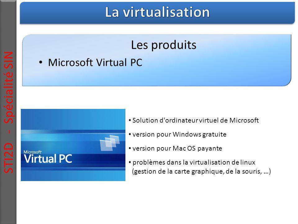 Les produits Microsoft Virtual PC Solution d ordinateur virtuel de Microsoft version pour Windows gratuite version pour Mac OS payante problèmes dans la virtualisation de linux (gestion de la carte graphique, de la souris, …) STI2D - Spécialité SIN