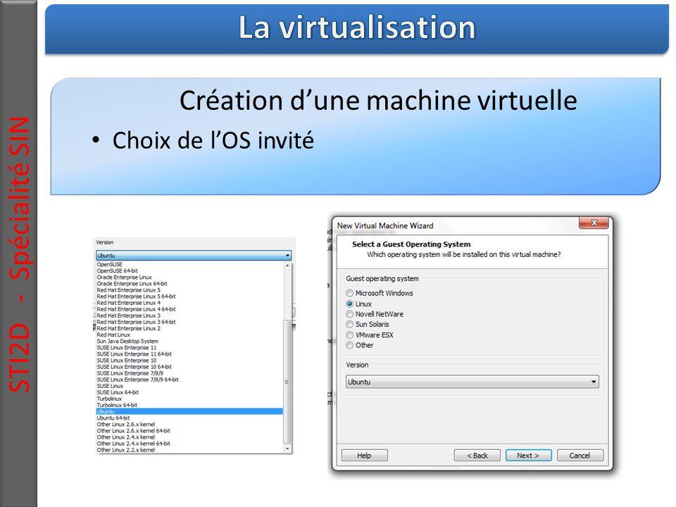 STI2D - Spécialité SIN Création d'une machine virtuelle Choix de l'OS invité