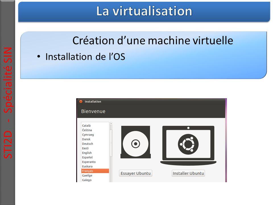 STI2D - Spécialité SIN Création d'une machine virtuelle Installation de l'OS
