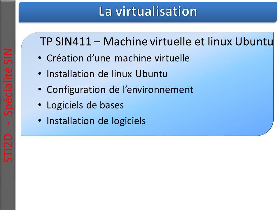 STI2D - Spécialité SIN TP SIN411 – Machine virtuelle et linux Ubuntu Création d'une machine virtuelle Installation de linux Ubuntu Configuration de l'environnement Logiciels de bases Installation de logiciels