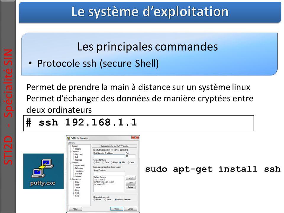 Les principales commandes Protocole ssh (secure Shell) STI2D - Spécialité SIN Permet de prendre la main à distance sur un système linux Permet d'échanger des données de manière cryptées entre deux ordinateurs # ssh 192.168.1.1 sudo apt-get install ssh