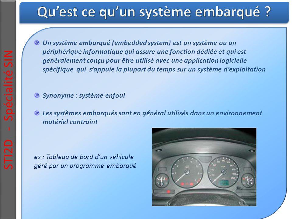 Un système embarqué (embedded system) est un système ou un périphérique informatique qui assure une fonction dédiée et qui est généralement conçu pour être utilisé avec une application logicielle spécifique qui s'appuie la plupart du temps sur un système d'exploitation Synonyme : système enfoui Les systèmes embarqués sont en général utilisés dans un environnement matériel contraint ex : Tableau de bord d'un véhicule géré par un programme embarqué STI2D - Spécialité SIN