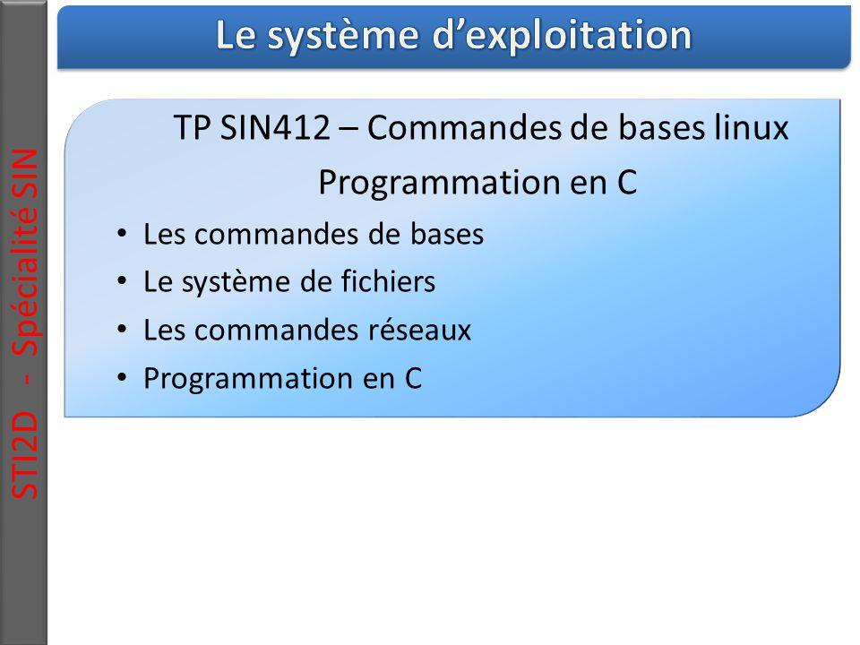 STI2D - Spécialité SIN TP SIN412 – Commandes de bases linux Programmation en C Les commandes de bases Le système de fichiers Les commandes réseaux Programmation en C