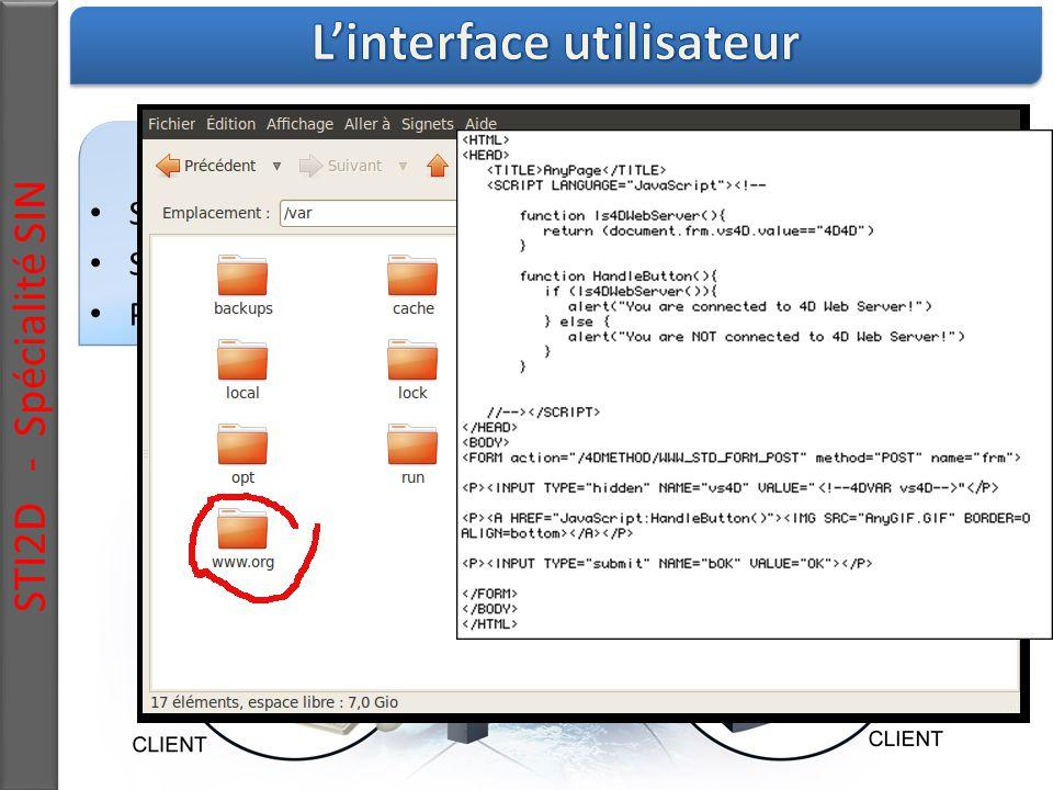 STI2D - Spécialité SIN Mise en place d'un serveur web Serveur : Programme sur ordinateur Sites web : Dossier contenant des fichiers html, php, média, … Pages web : fichiers html interprétés par le navigateur du client