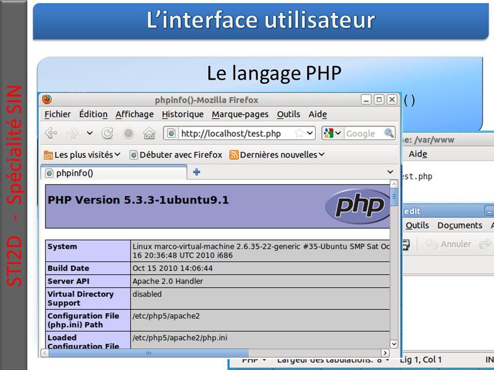 STI2D - Spécialité SIN Le langage PHP Vérification du fonctionnement de php : phpinfo()