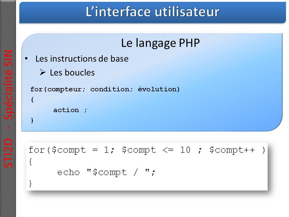 STI2D - Spécialité SIN Le langage PHP Les instructions de base  Les boucles for(compteur; condition; évolution) { action ; }