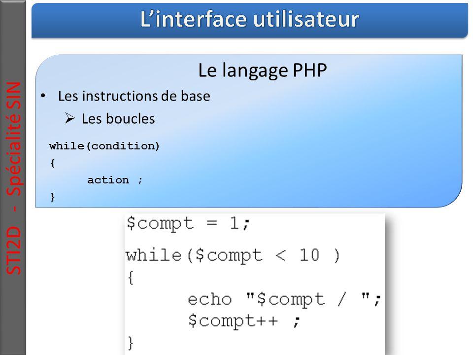 STI2D - Spécialité SIN Le langage PHP Les instructions de base  Les boucles while(condition) { action ; }