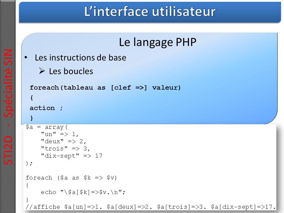 STI2D - Spécialité SIN Le langage PHP Les instructions de base  Les boucles foreach(tableau as [clef =>] valeur) { action ; }
