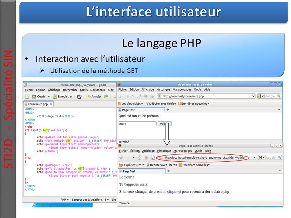 STI2D - Spécialité SIN Le langage PHP Interaction avec l'utilisateur  Utilisation de la méthode GET