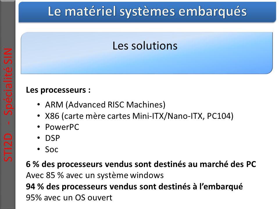Les solutions STI2D - Spécialité SIN Les processeurs : ARM (Advanced RISC Machines) X86 (carte mère cartes Mini-ITX/Nano-ITX, PC104) PowerPC DSP Soc 6 % des processeurs vendus sont destinés au marché des PC Avec 85 % avec un système windows 94 % des processeurs vendus sont destinés à l'embarqué 95% avec un OS ouvert
