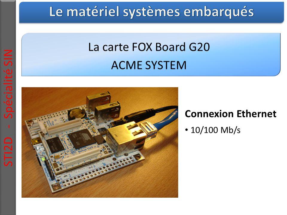 La carte FOX Board G20 ACME SYSTEM STI2D - Spécialité SIN Connexion Ethernet 10/100 Mb/s