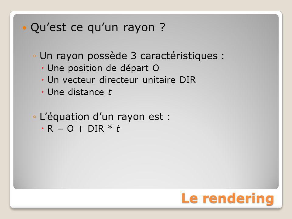 Le rendering Qu'est ce qu'un rayon ? ◦Un rayon possède 3 caractéristiques :  Une position de départ O  Un vecteur directeur unitaire DIR  Une dista