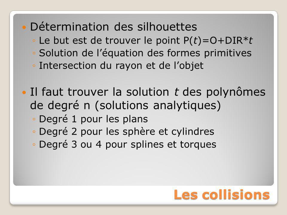 Les collisions Détermination des silhouettes ◦Le but est de trouver le point P(t)=O+DIR*t ◦Solution de l'équation des formes primitives ◦Intersection