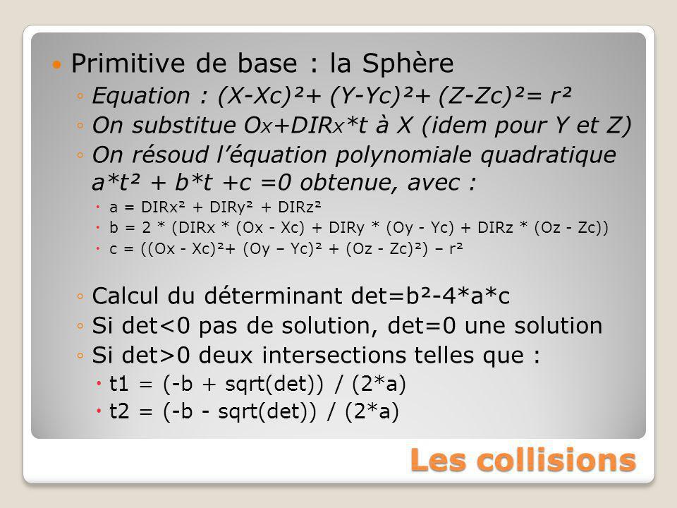 Les collisions Primitive de base : la Sphère ◦Equation : (X-Xc)²+ (Y-Yc)²+ (Z-Zc)²= r² ◦On substitue O x +DIR x *t à X (idem pour Y et Z) ◦On résoud l