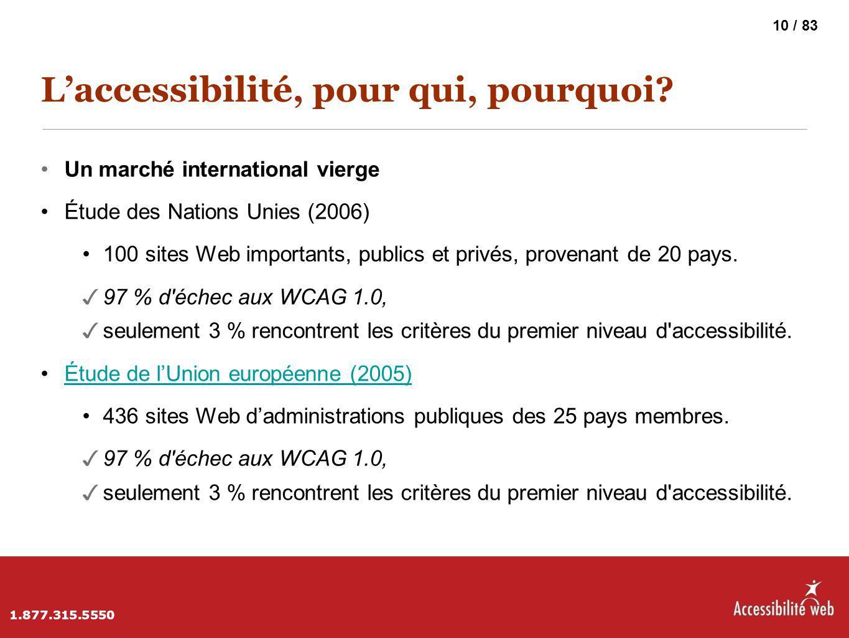 L'accessibilité, pour qui, pourquoi? Un marché international vierge Étude des Nations Unies (2006) 100 sites Web importants, publics et privés, proven