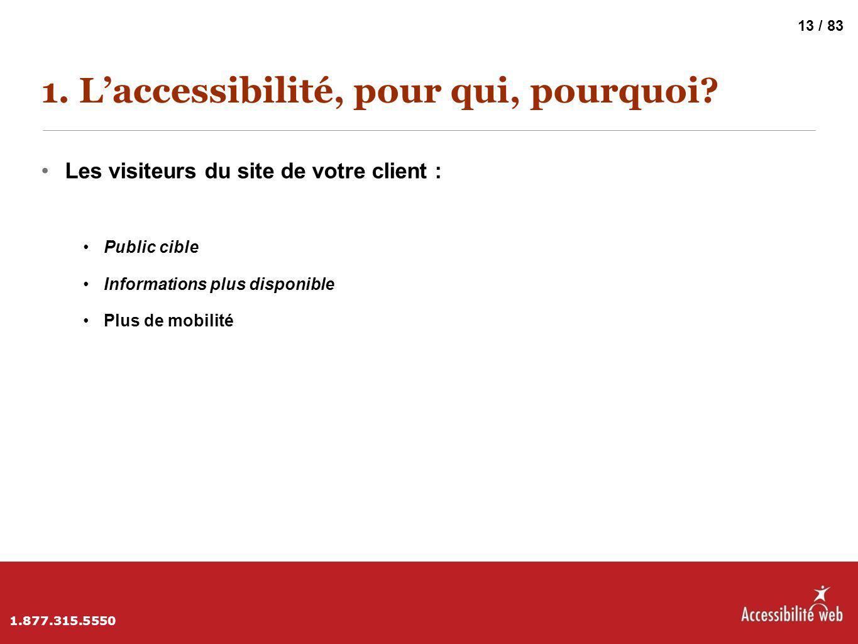 1. L'accessibilité, pour qui, pourquoi? Les visiteurs du site de votre client : Public cible Informations plus disponible Plus de mobilité 1.877.315.5