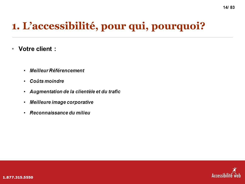 1. L'accessibilité, pour qui, pourquoi? Votre client : Meilleur Référencement Coûts moindre Augmentation de la clientèle et du trafic Meilleure image