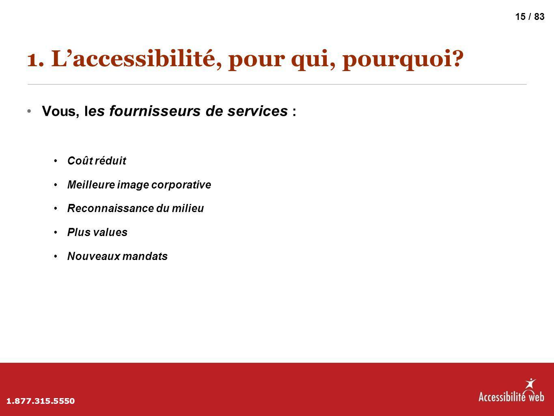 1. L'accessibilité, pour qui, pourquoi? Vous, l es fournisseurs de services : Coût réduit Meilleure image corporative Reconnaissance du milieu Plus va