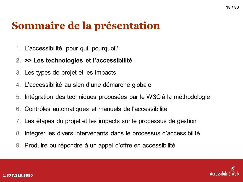 Sommaire de la présentation 1. L'accessibilité, pour qui, pourquoi? 2. >> Les technologies et l'accessibilité 3. Les types de projet et les impacts 4.