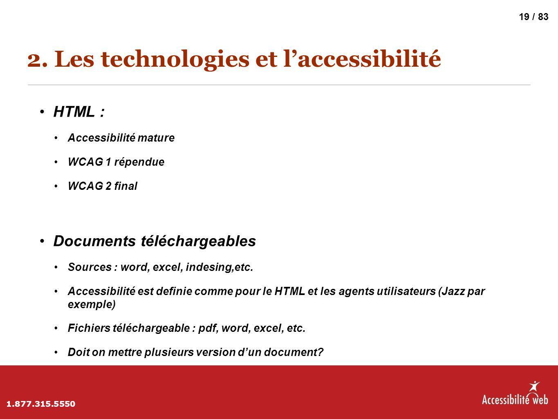 2. Les technologies et l'accessibilité HTML : Accessibilité mature WCAG 1 répendue WCAG 2 final Documents téléchargeables Sources : word, excel, indes