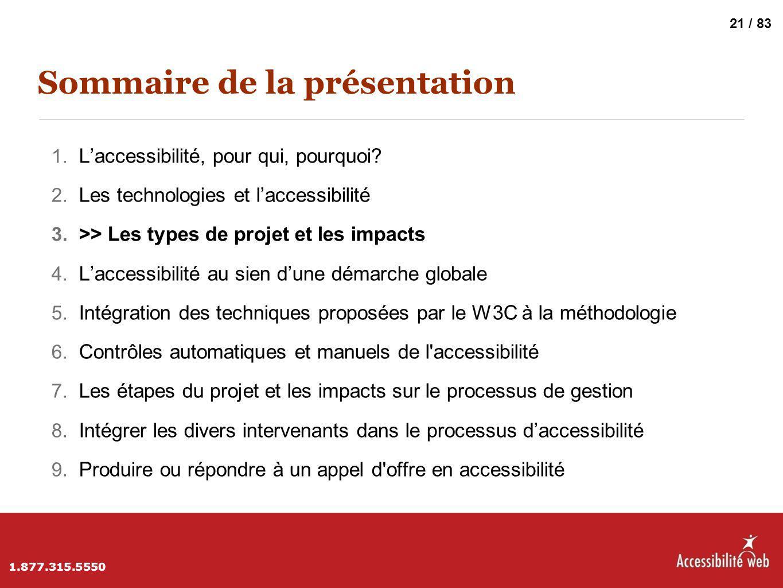 Sommaire de la présentation 1. L'accessibilité, pour qui, pourquoi? 2. Les technologies et l'accessibilité 3. >> Les types de projet et les impacts 4.