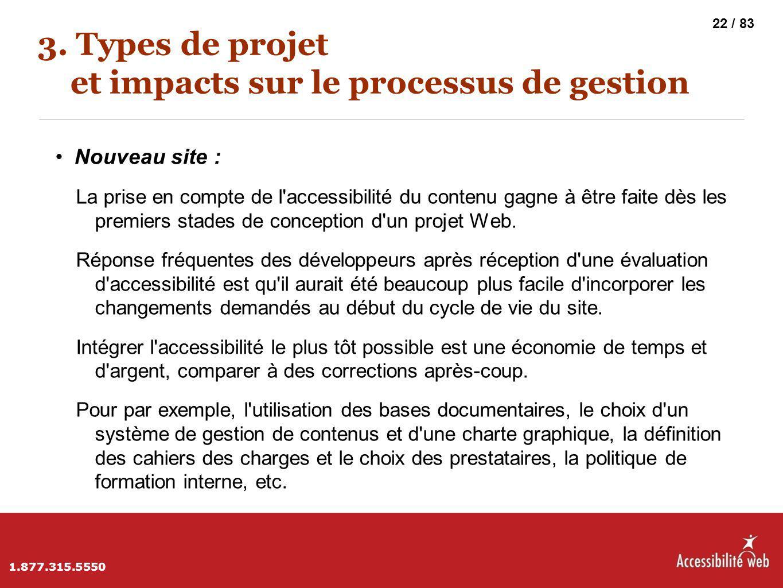 3. Types de projet et impacts sur le processus de gestion Nouveau site : La prise en compte de l'accessibilité du contenu gagne à être faite dès les p