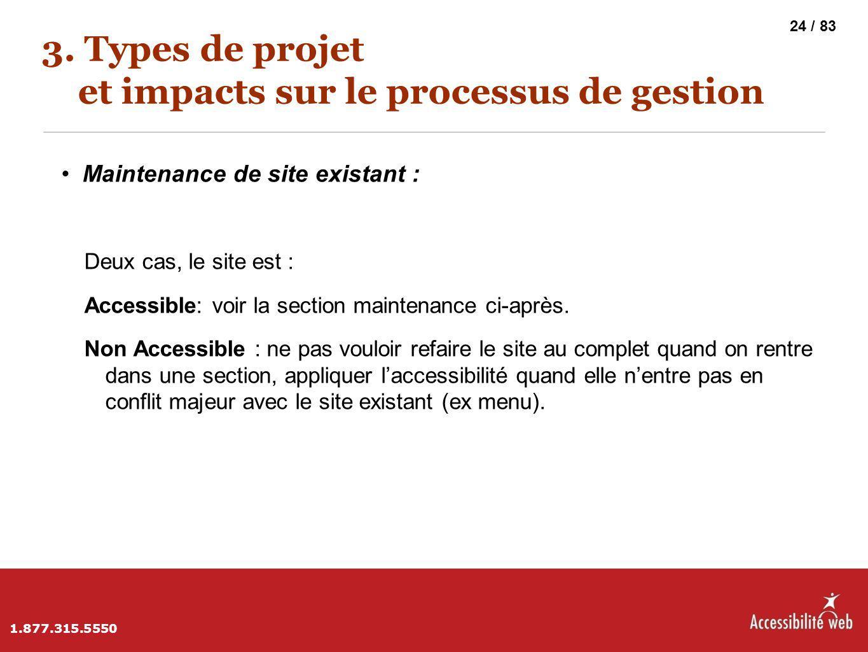 3. Types de projet et impacts sur le processus de gestion Maintenance de site existant : Deux cas, le site est : Accessible: voir la section maintenan
