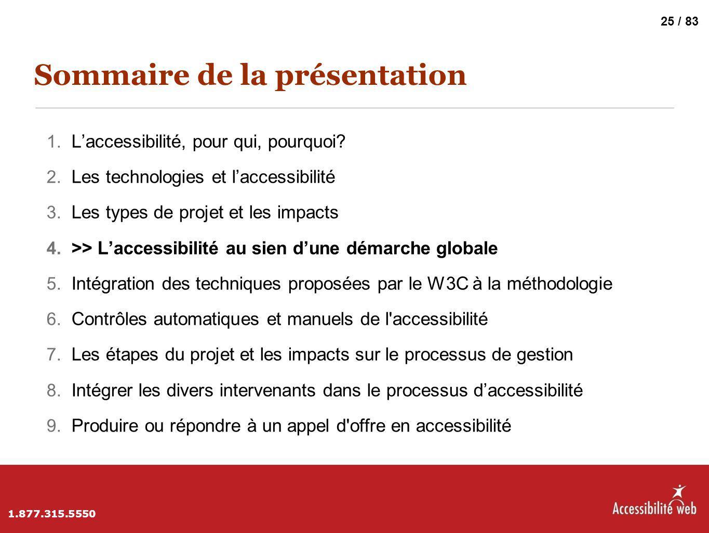Sommaire de la présentation 1. L'accessibilité, pour qui, pourquoi? 2. Les technologies et l'accessibilité 3. Les types de projet et les impacts 4. >>