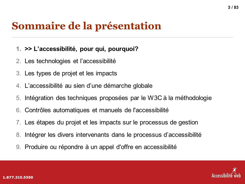 Sommaire de la présentation 1. >> L'accessibilité, pour qui, pourquoi? 2. Les technologies et l'accessibilité 3. Les types de projet et les impacts 4.