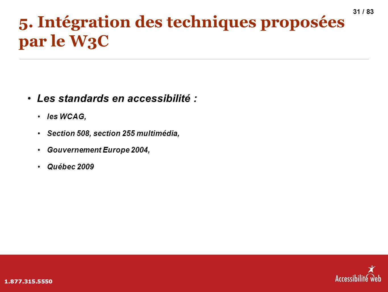 5. Intégration des techniques proposées par le W3C Les standards en accessibilité : les WCAG, Section 508, section 255 multimédia, Gouvernement Europe