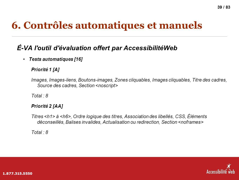 6. Contrôles automatiques et manuels É-VA l'outil d'évaluation offert par AccessibilitéWeb Tests automatiques [16] Priorité 1 [A] Images, Images-liens