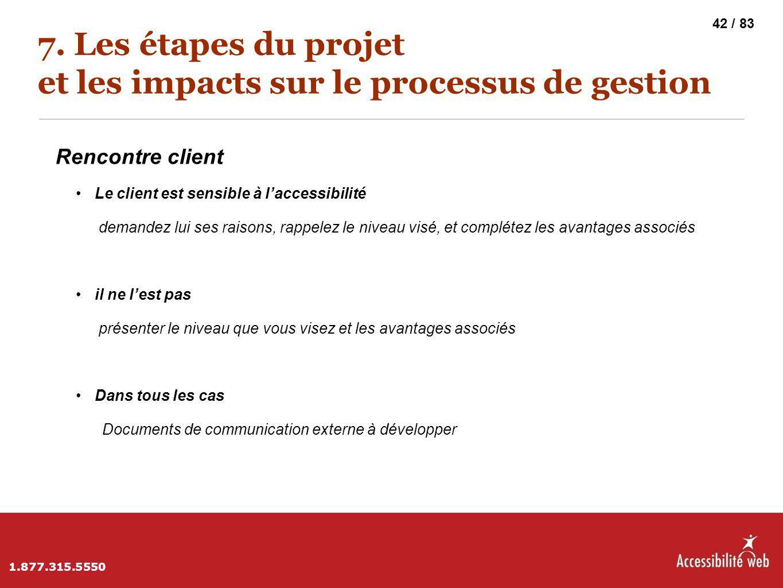 7. Les étapes du projet et les impacts sur le processus de gestion Rencontre client Le client est sensible à l'accessibilité demandez lui ses raisons,