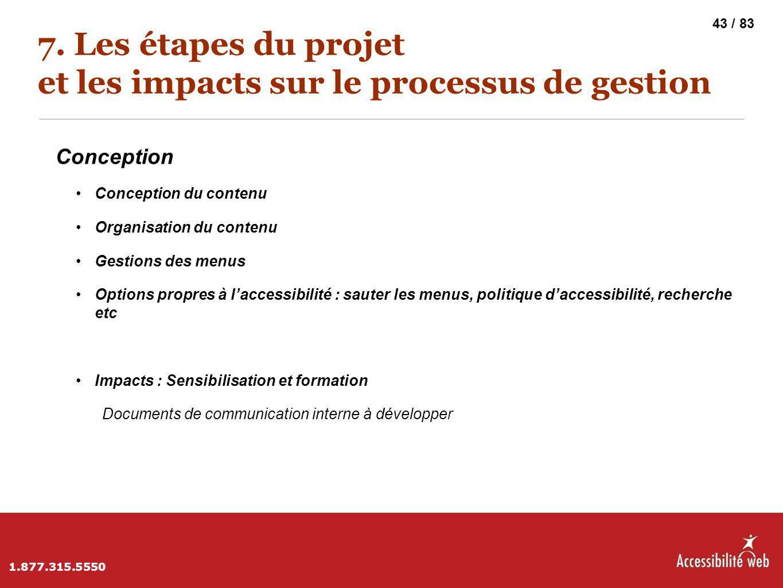 7. Les étapes du projet et les impacts sur le processus de gestion Conception Conception du contenu Organisation du contenu Gestions des menus Options