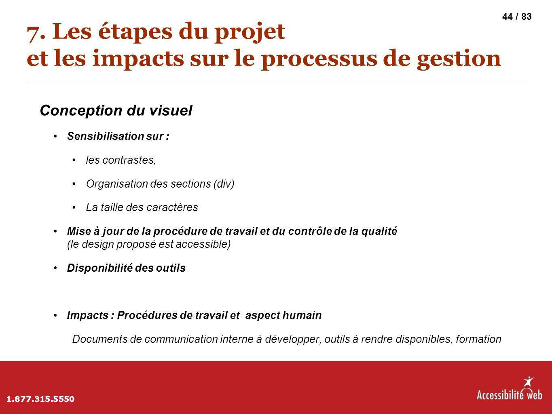 7. Les étapes du projet et les impacts sur le processus de gestion Conception du visuel Sensibilisation sur : les contrastes, Organisation des section