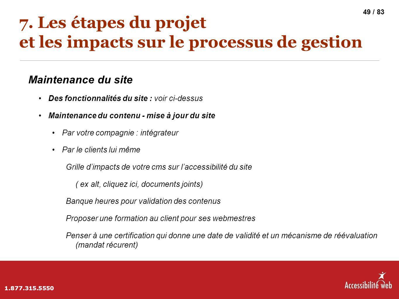 7. Les étapes du projet et les impacts sur le processus de gestion Maintenance du site Des fonctionnalités du site : voir ci-dessus Maintenance du con