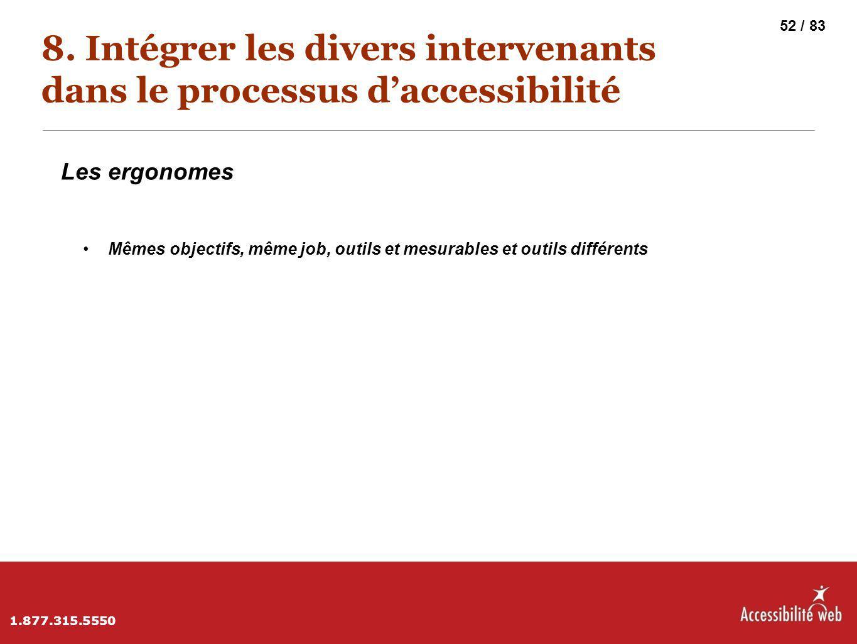8. Intégrer les divers intervenants dans le processus d'accessibilité Les ergonomes Mêmes objectifs, même job, outils et mesurables et outils différen