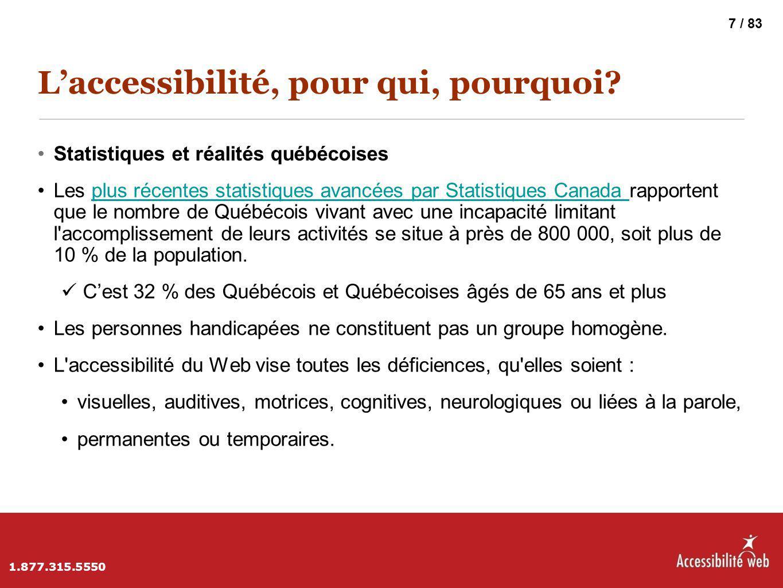 L'accessibilité, pour qui, pourquoi? Statistiques et réalités québécoises Les plus récentes statistiques avancées par Statistiques Canada rapportent q