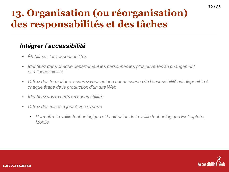 13. Organisation (ou réorganisation) des responsabilités et des tâches Intégrer l'accessibilité Établissez les responsabilités Identifiez dans chaque