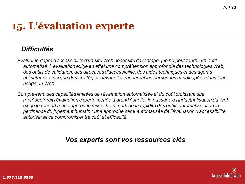 15. L'évaluation experte Difficultés Evaluer le degré d'accessibilité d'un site Web nécessite davantage que ne peut fournir un outil automatisé. L'éva