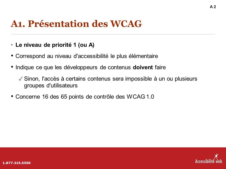 A1. Présentation des WCAG Le niveau de priorité 1 (ou A) Correspond au niveau d'accessibilité le plus élémentaire Indique ce que les développeurs de c