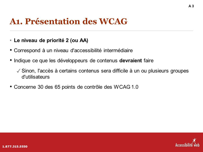 A1. Présentation des WCAG Le niveau de priorité 2 (ou AA) Correspond à un niveau d'accessibilité intermédiaire Indique ce que les développeurs de cont