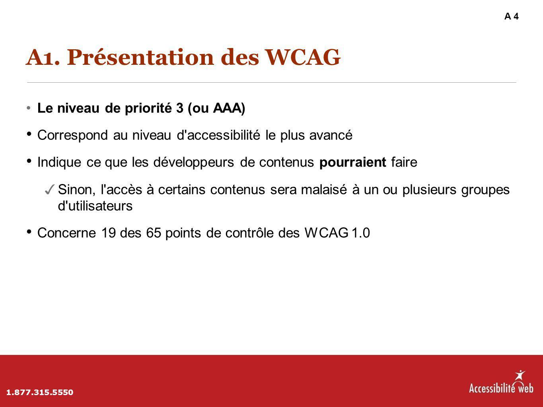 A1. Présentation des WCAG Le niveau de priorité 3 (ou AAA) Correspond au niveau d'accessibilité le plus avancé Indique ce que les développeurs de cont