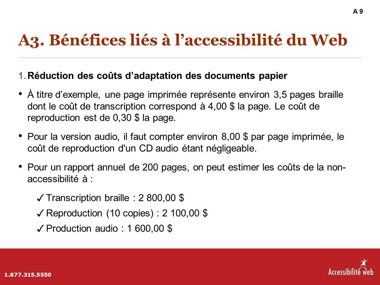 A3. Bénéfices liés à l'accessibilité du Web 1. Réduction des coûts d'adaptation des documents papier À titre d'exemple, une page imprimée représente e