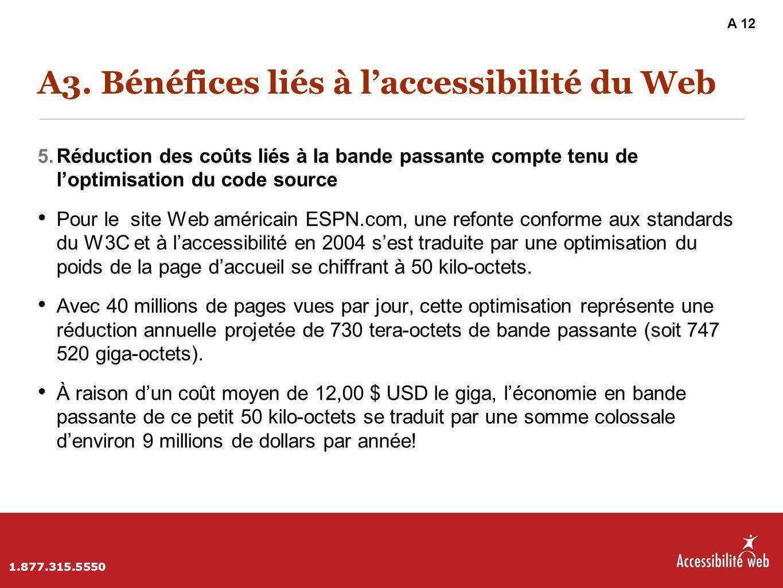 A3. Bénéfices liés à l'accessibilité du Web 5. Réduction des coûts liés à la bande passante compte tenu de l'optimisation du code source Pour le site