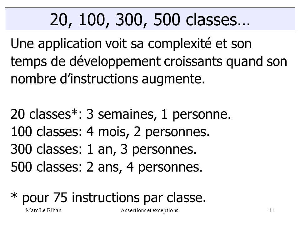 Marc Le BihanAssertions et exceptions.11 20, 100, 300, 500 classes… Une application voit sa complexité et son temps de développement croissants quand