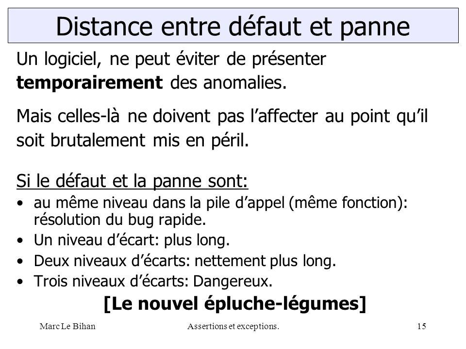 Marc Le BihanAssertions et exceptions.15 Distance entre défaut et panne Un logiciel, ne peut éviter de présenter temporairement des anomalies. Mais ce