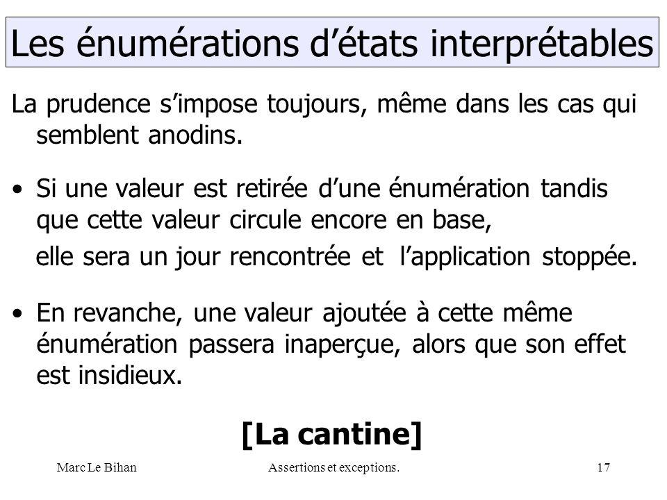 Marc Le BihanAssertions et exceptions.17 La prudence s'impose toujours, même dans les cas qui semblent anodins. Si une valeur est retirée d'une énumér