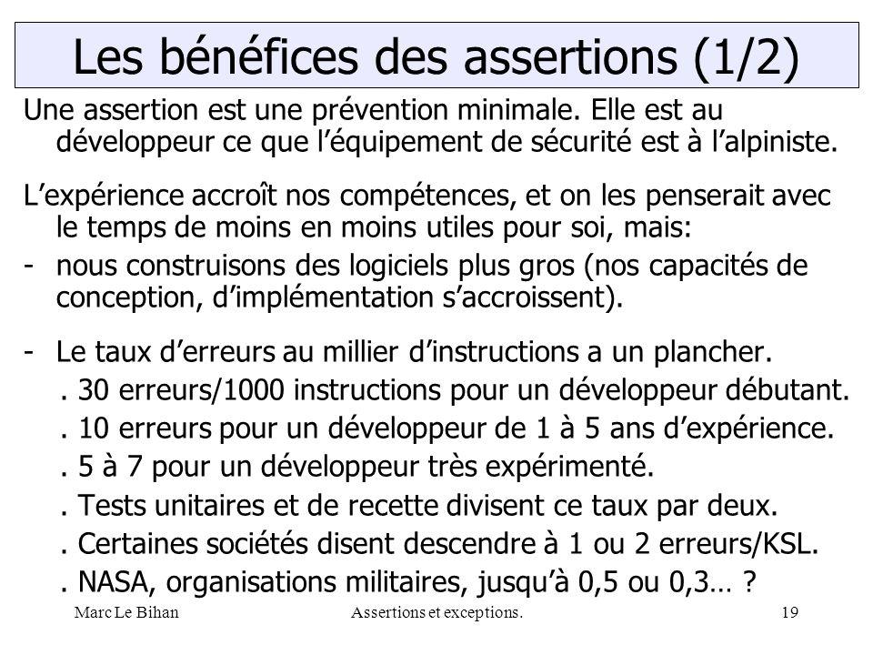 Marc Le BihanAssertions et exceptions.19 Une assertion est une prévention minimale. Elle est au développeur ce que l'équipement de sécurité est à l'al